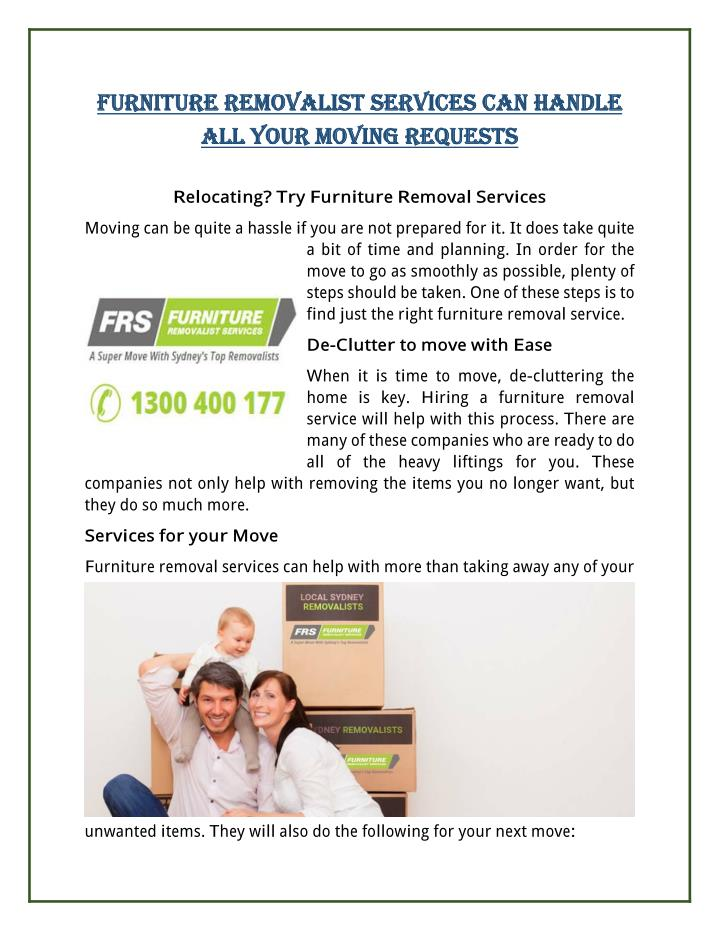 FURNITURE REMOVALIST SERVICES CAN HANDLE