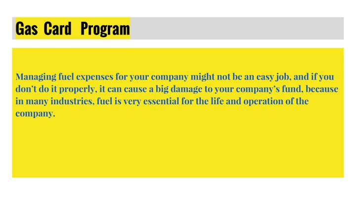 Gas  Card   Program