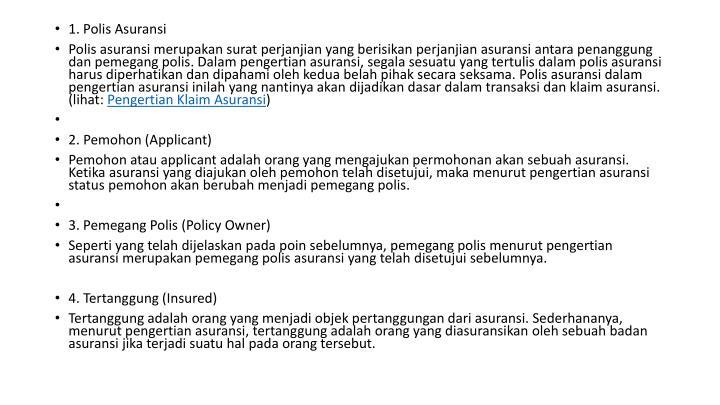 1. Polis Asuransi