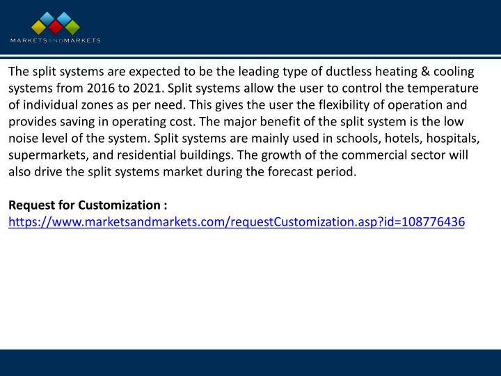 The split systems are expected to be the leading type of ductless heating & cooling systems from 201...