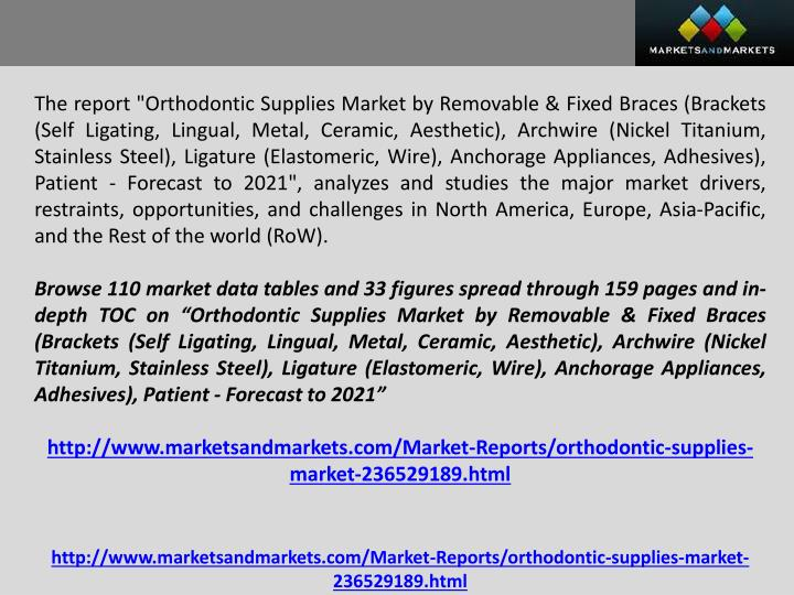 "The report ""Orthodontic Supplies Market by Removable & Fixed Braces (Brackets (Self Ligating, Lingual, Metal, Ceramic, Aesthetic),"