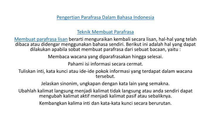 Pengertian Parafrasa Dalam Bahasa Indonesia