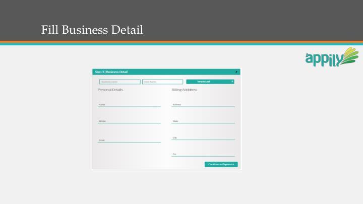 Fill Business Detail