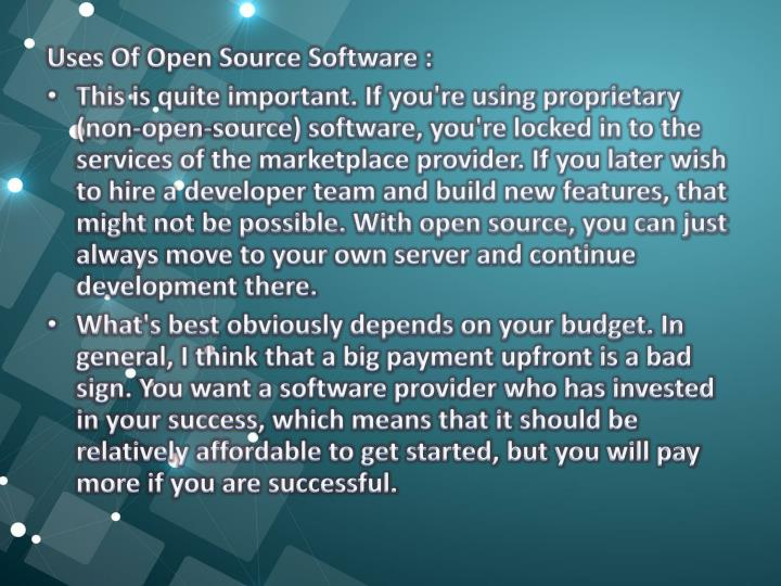 Uses Of Open Source Software