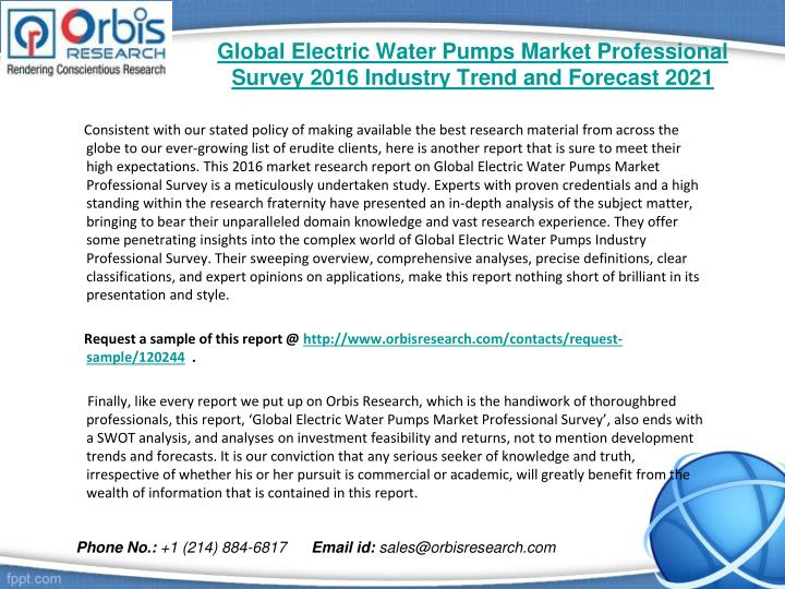 Global electric water pumps market professional survey 2016 industry trend and forecast 20211