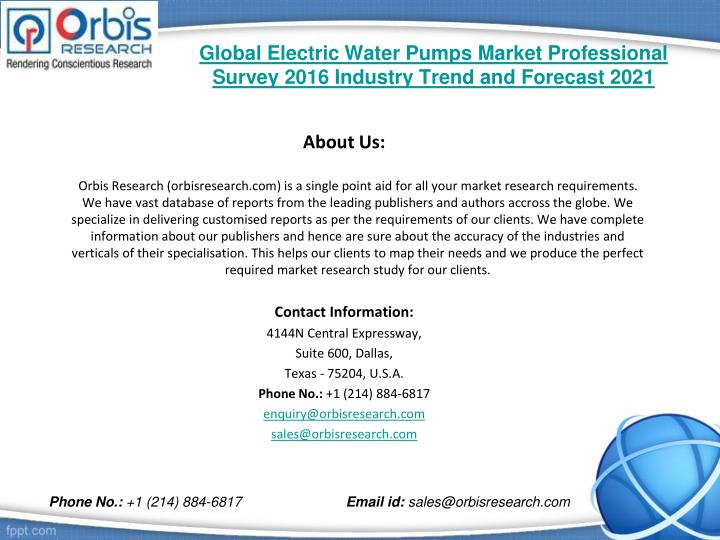 Global electric water pumps market professional survey 2016 industry trend and forecast 20212