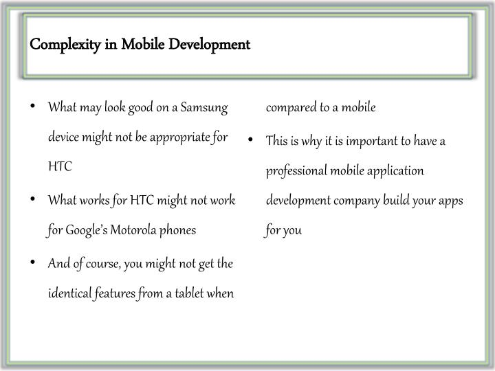 Complexity in mobile development