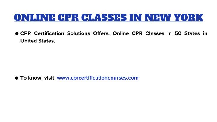ONLINE CPR CLASSES IN NEW YORK