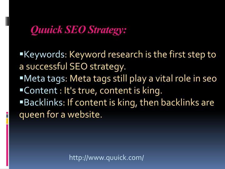 Quuick SEO Strategy: