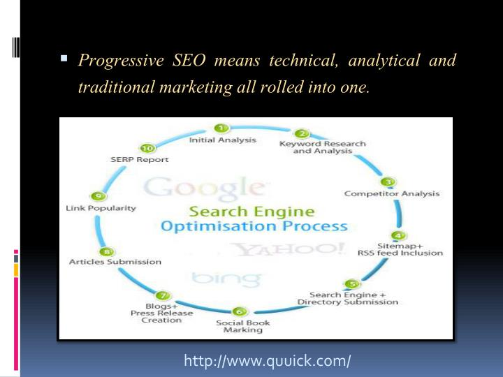 Progressive SEO means technical, analytical and traditional marketing all rolled into one.