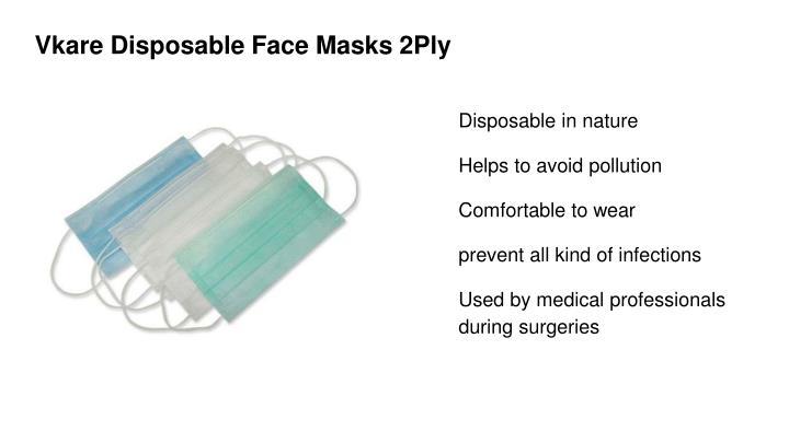 Vkare Disposable Face Masks 2Ply