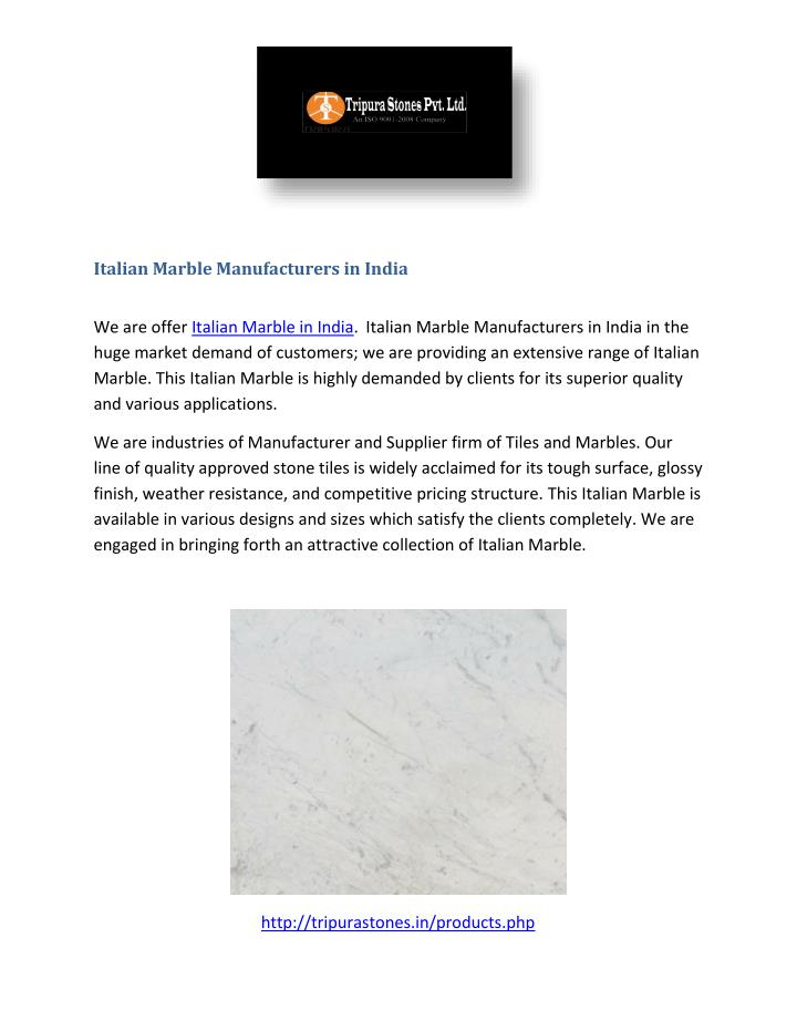 Italian Marble Manufacturers in India