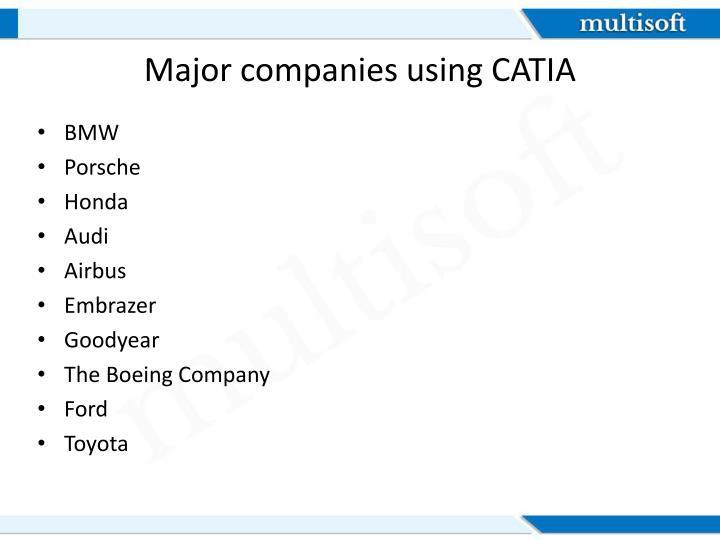 Major companies using CATIA