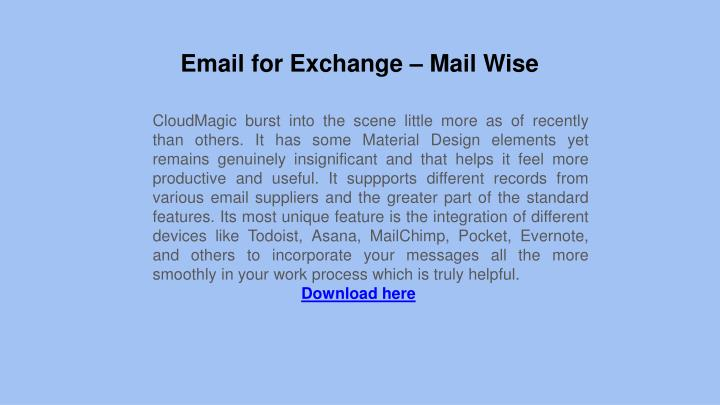 Email for Exchange – Mail Wise