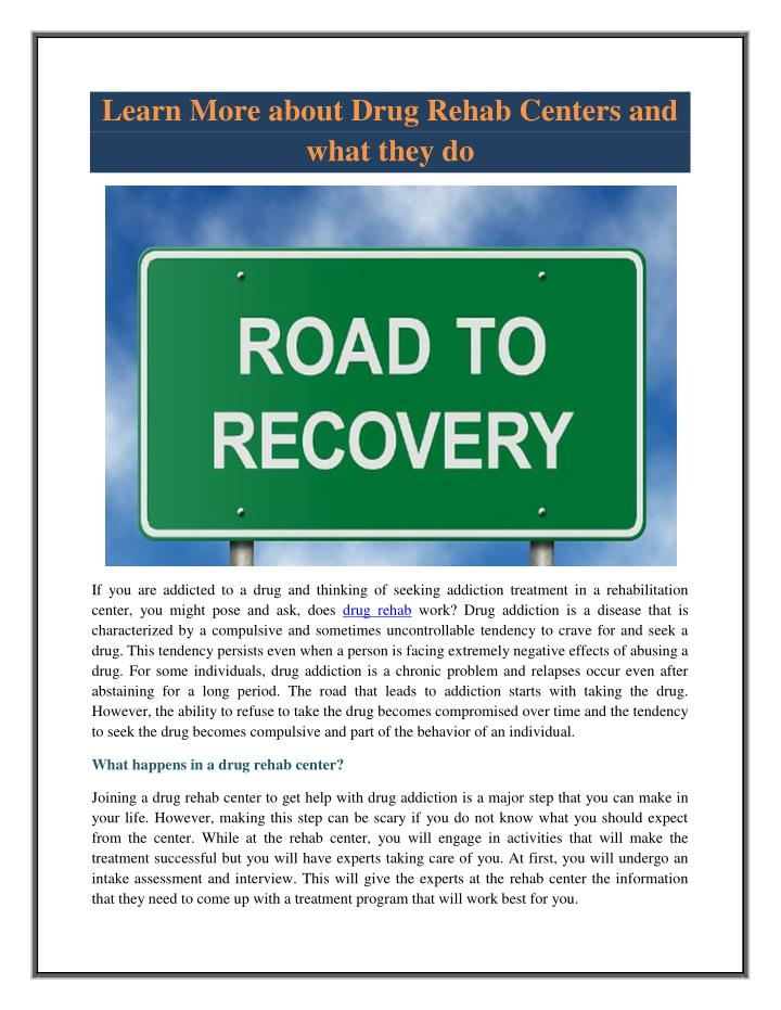 Learn More about Drug Rehab Centers and
