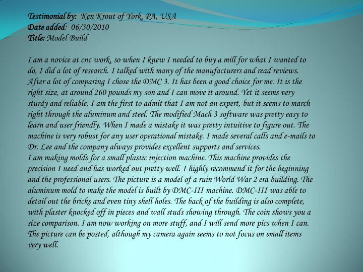 Testimonial by: