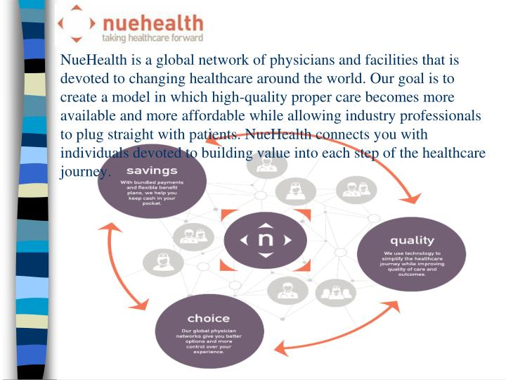 NueHealth is a global network of physicians and facilities that is devoted to changing healthcare ar...