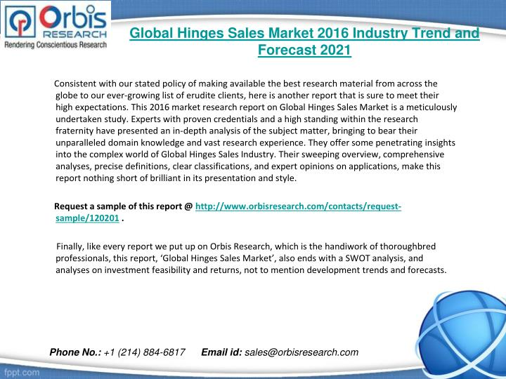 Global hinges sales market 2016 industry trend and forecast 20211