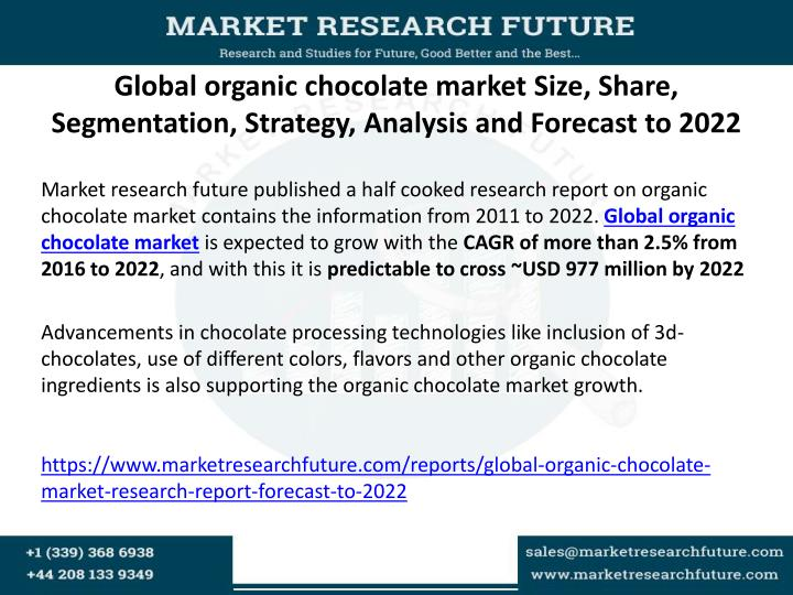 Global organic chocolate market Size, Share, Segmentation, Strategy, Analysis and Forecast to 2022