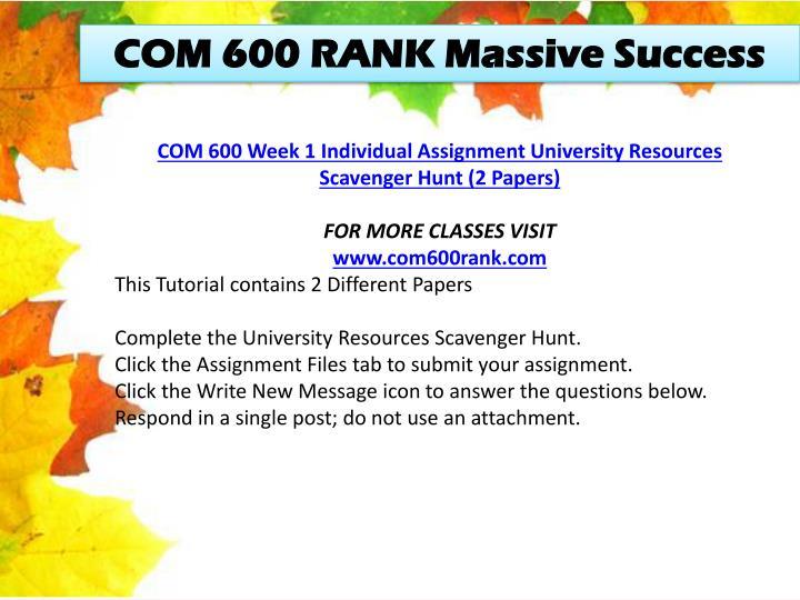 COM 600 RANK Massive Success