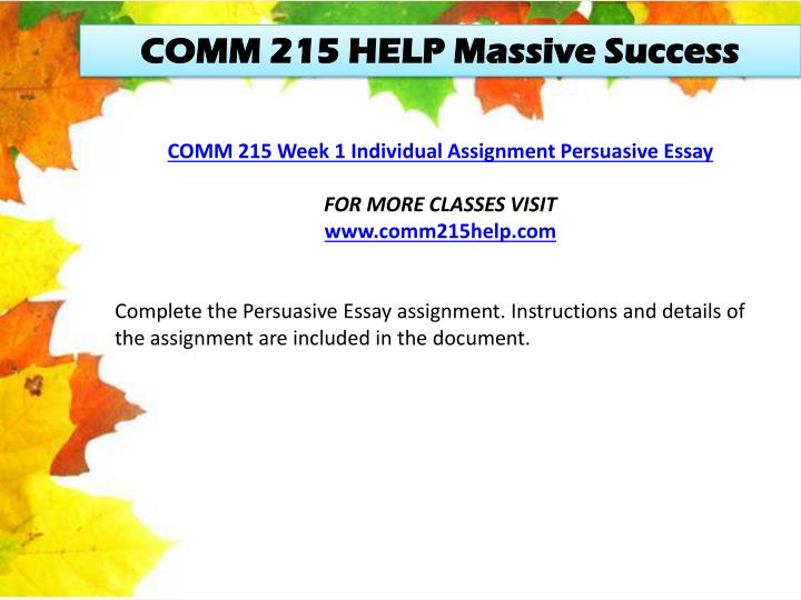 COMM 215 HELP Massive Success