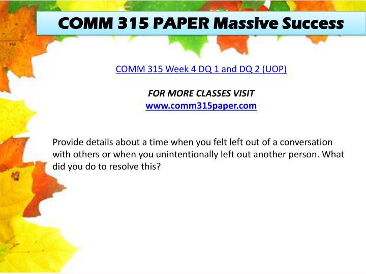 COMM 315 PAPER Massive Success