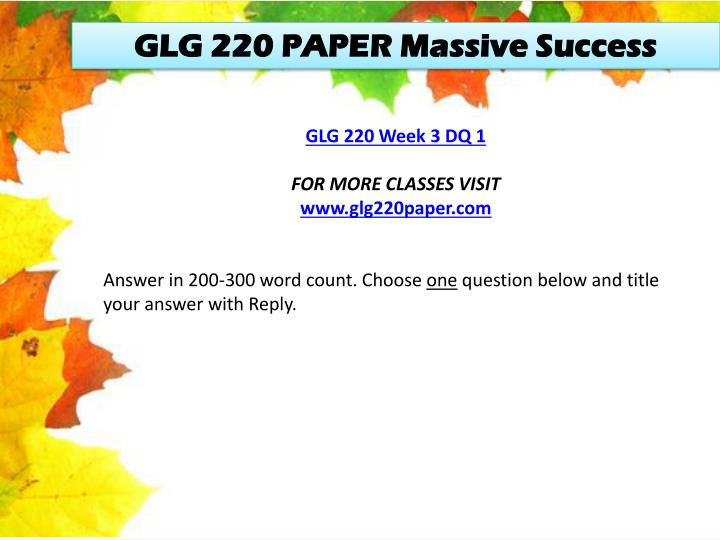 GLG 220 PAPER Massive Success