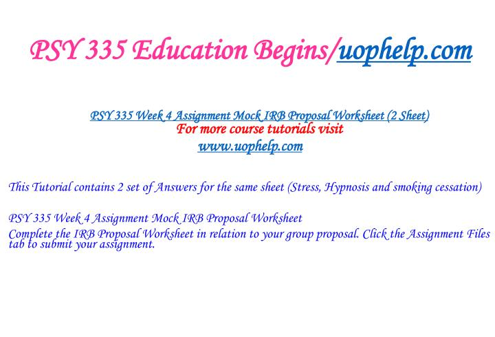 PSY 335 Education Begins/
