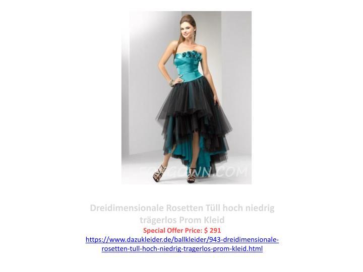 Dreidimensionale Rosetten Tüll hoch niedrig trägerlos Prom Kleid