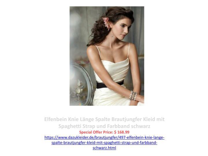 Elfenbein Knie Länge Spalte Brautjungfer Kleid mit Spaghetti Strap und Farbband schwarz
