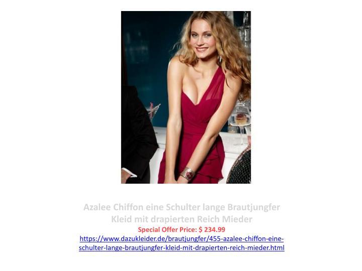 Azalee Chiffon eine Schulter lange Brautjungfer Kleid mit drapierten Reich Mieder
