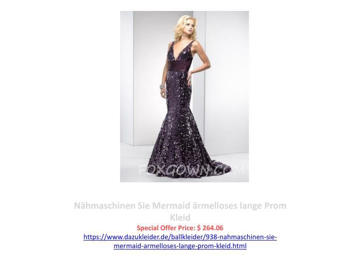 Nähmaschinen Sie Mermaid ärmelloses lange Prom Kleid