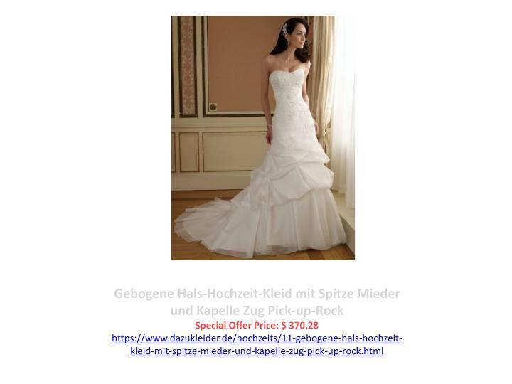 Gebogene Hals-Hochzeit-Kleid mit Spitze Mieder und Kapelle Zug Pick-up-Rock