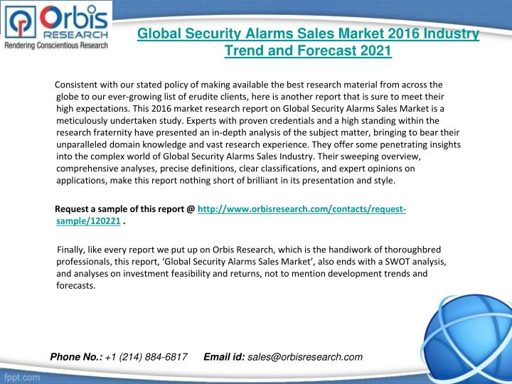 Global security alarms sales market 2016 industry trend and forecast 20211