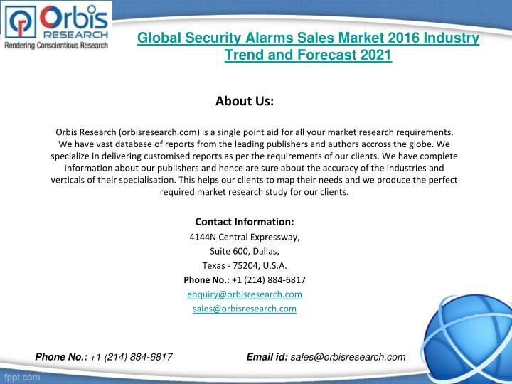 Global Security Alarms Sales Market 2016 Industry Trend and Forecast 2021