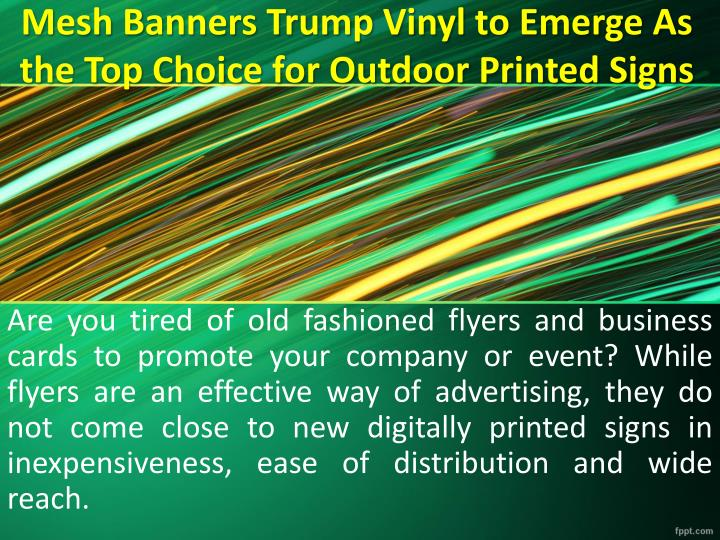 mesh banners trump vinyl to emerge as the top choice for outdoor printed signs