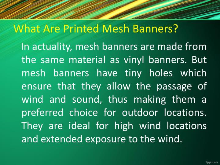 What are printed mesh banners