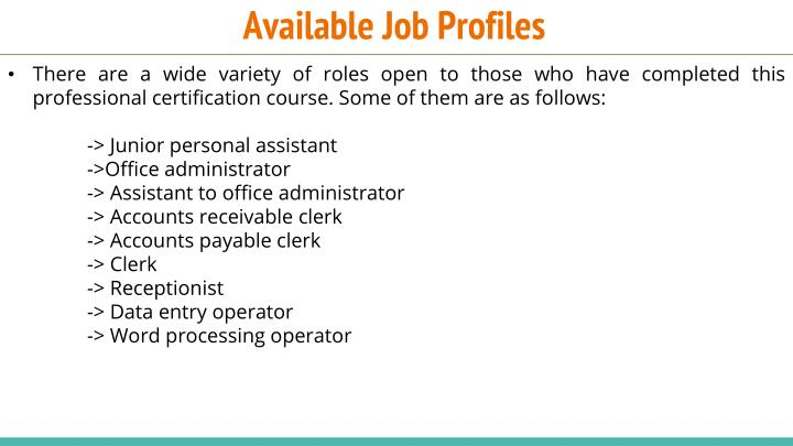 Available Job Profiles