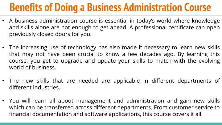 Benefits of doing a business administration course