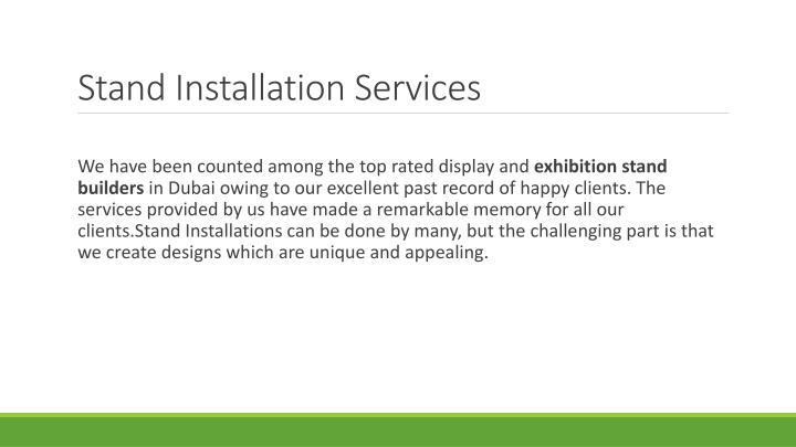 Stand Installation