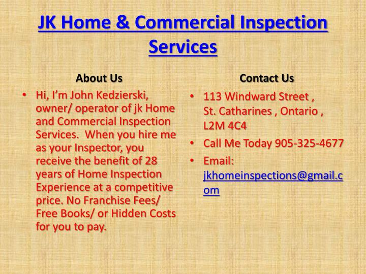 JK Home & Commercial Inspection Services