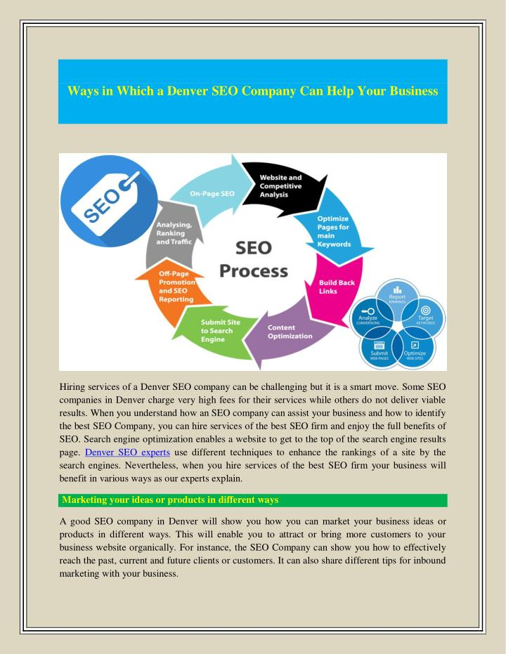 Ways in Which a Denver SEO Company Can Help Your Business