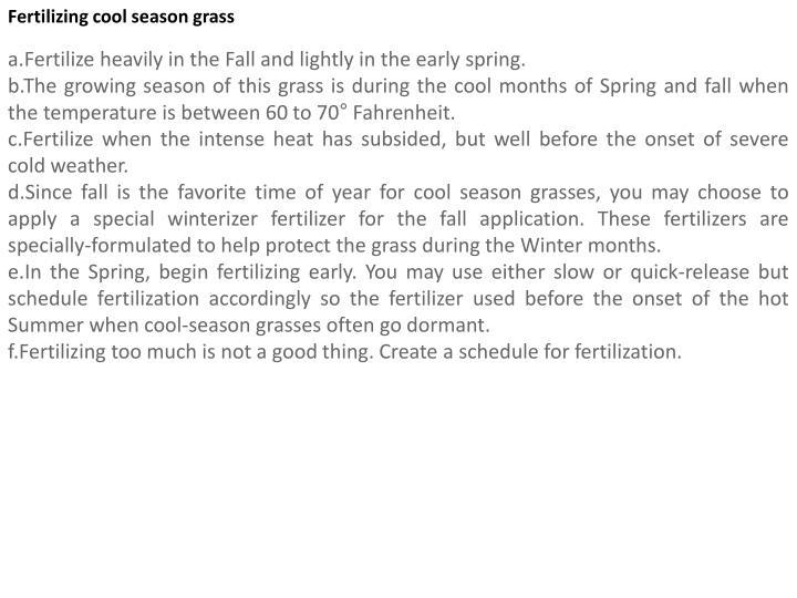 Fertilizing cool season grass