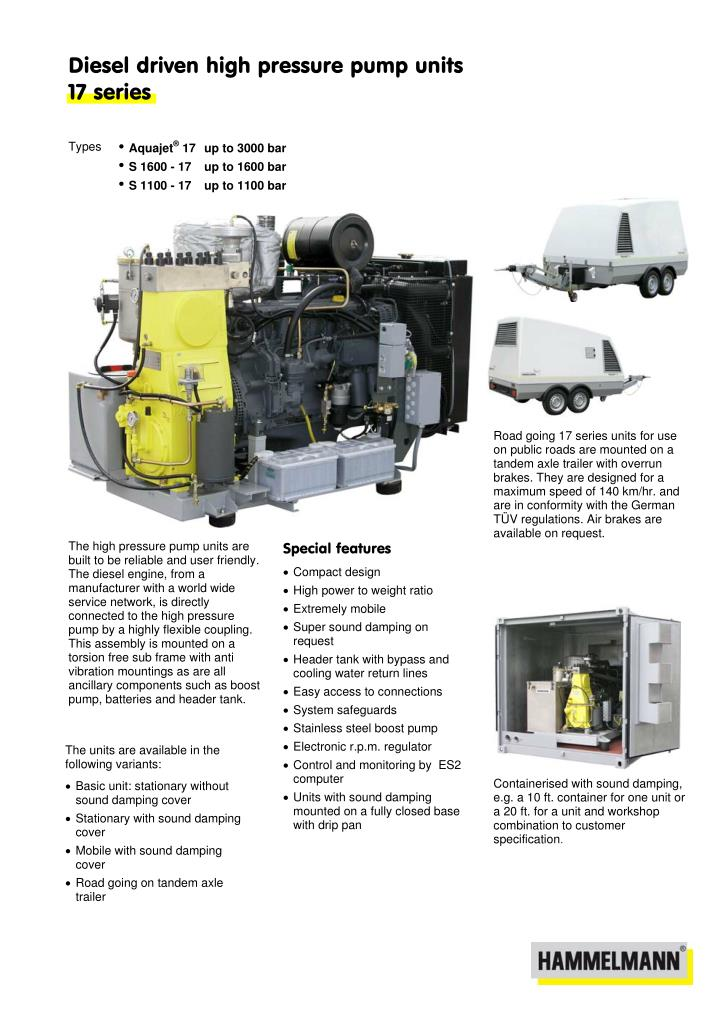 Diesel driven high pressure pump units