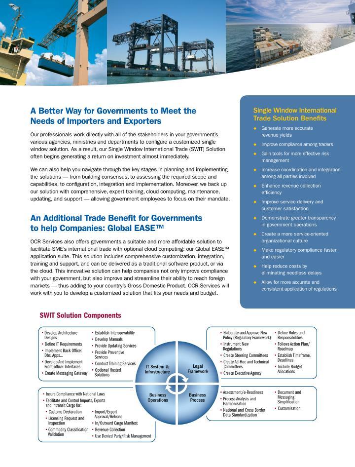 OCR's Single Window International