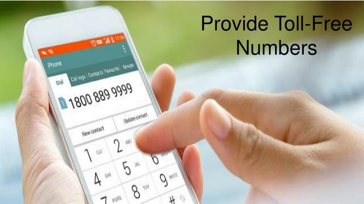 Provide Toll-Free Numbers