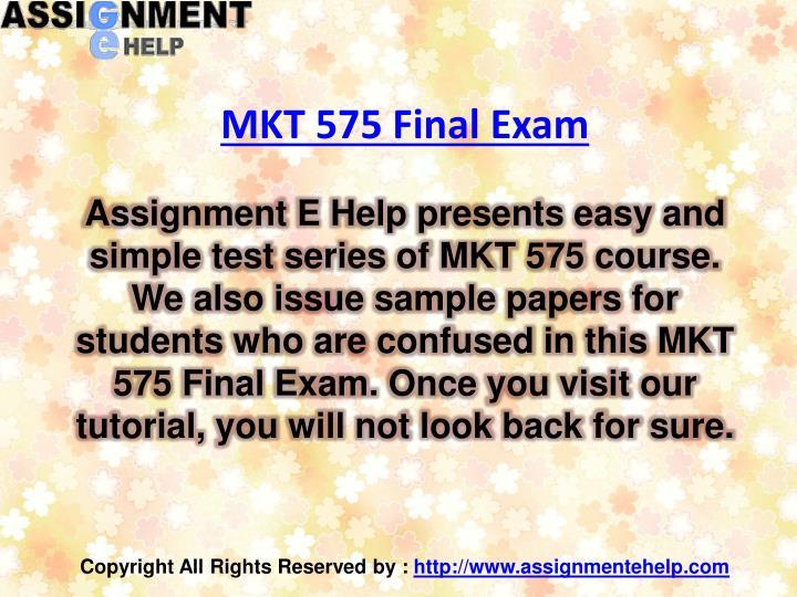 MKT 575 Final Exam