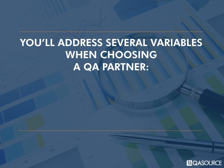 YOU'LL ADDRESS SEVERAL VARIABLES