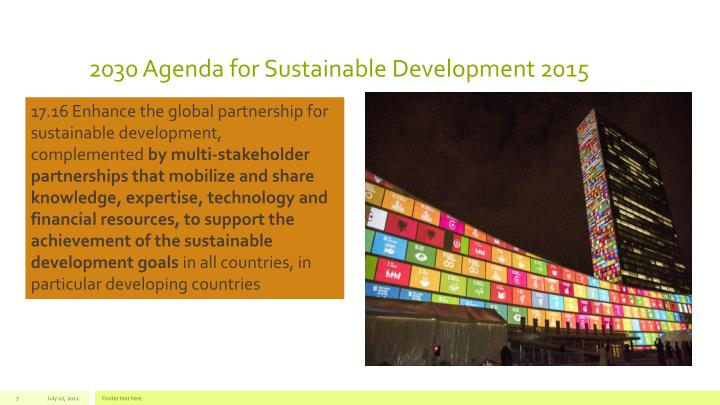 2030 Agenda for Sustainable Development 2015