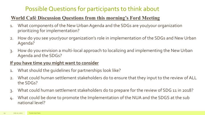 Possible Questions for participants to think about